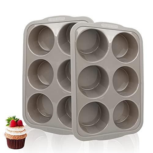 Jumbo Muffin Pan 6 Cups, Silicone Muffin Pan Set of 2 Gray, Muffin Pans For Baking Nonstick, Muffin Tin BPA Free, Large Muffin Pan Dishwasher Safe