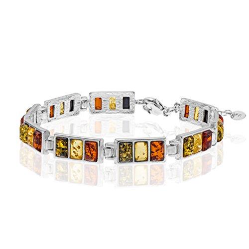 Copal Damen Armband Bernstein Silber 925 Natur Bunt Längen-verstellbar Geschenkverpackung Geschenk Freundin