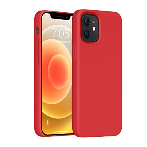 OUXUL Compatible with iPhone 12 Mini Case,Liquid Silicone Gel Rubber Phone Case,iPhone 12 Mini Case 2020 Cover 5.4 Inch Full Body Slim Soft Microfiber Lining Protective Case