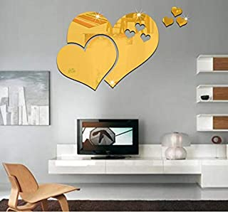 1Set High Quality Removable Gold 3D Mirror Love Hearts Wall Sticker DIY Decal Home Room Art Mural Decor for Living Room & ...