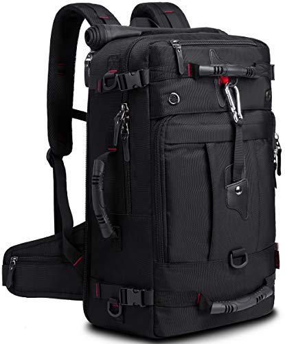 KAKA 40l Travel Backpack, Durable Carry On Backpack Heavy Duty Convertible Duffle Bag Fit for 17 Inch Laptop Black