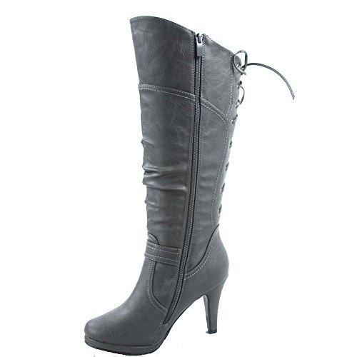 TOP Moda Womens Page-65 Knee High Round Toe Lace-Up Slouched High Heel Boots,Grey,10