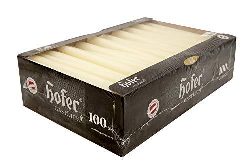 Hofer Velas Candelabro Ø 2,3 x 25 cm - Paquete de 100 piezas - 7 horas de tiempo de combustión - Marfil - Velas cónicas, Cera sin perfume, Calidad de la UE