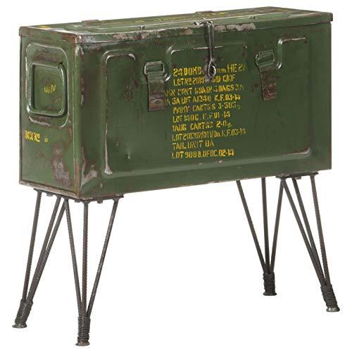 Tidyard Mesa de Centro Mesa para Sofá Baúl de almacenaje Estilo Militar 68x24x66 cm Hierro