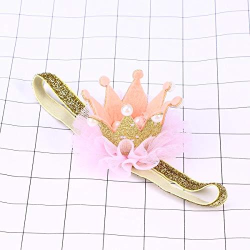 Lurrose 1Pc Kroon Hoofddeksels Kant Mooie Parel Hoofdstuk Headdress Haarband Haaraccessoires voor Kleine Meisjes Gouden