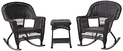 Jeco 3 Piece Rocker Wicker Chair Set, Black