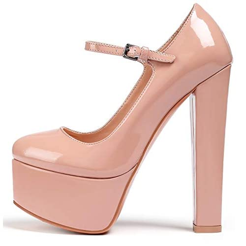 Eldof Women's Round Toe Platform Pumps Block Chunky High Heel Pumps Mary Jane Closed Toe Sexy Party Dress Shoes