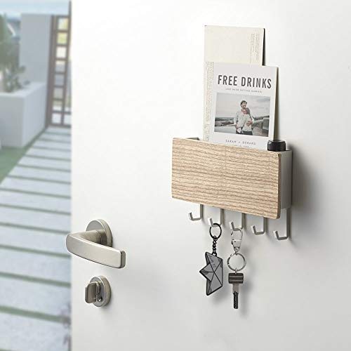 Key Holder for Wall Entryway Mail Holder for Wall Adhesive Key Rack for Wall with 5 Key Hook Wall Key Holder Key Hanger for Wall Mail Organizer Wall Mount for Entryway Mudroom Hallway - Beige