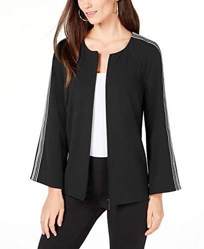 Alfani Women's Striped Sleeve Collarless Jacket Black Size XL