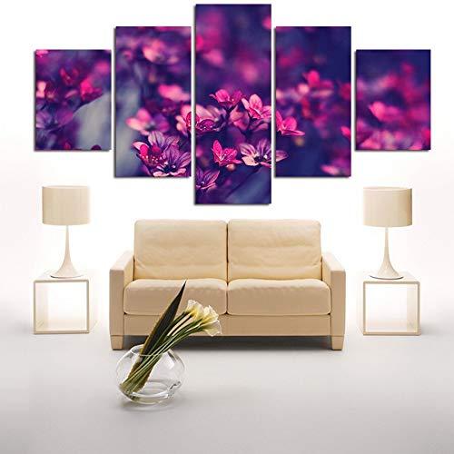 WGWNYN Cuadros modulares Arte de la Pared Carteles Impresos en Lienzo 5 Piezas Flores púrpurasPinturas depaisajespara la Sala de Estar Decoración del hogar Enmarcado 30x40 30x60 30x80cm