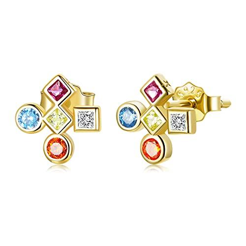 HMMJ S925 Pendientes de Tuerca Cruzados de circonita Colorida chapados en Oro Real de Ley, Regalos para Mujeres y niñas
