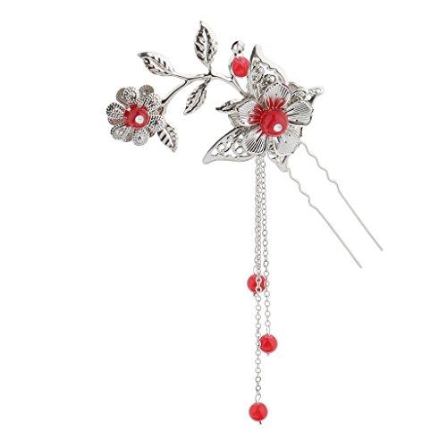 Dolity Pince à Cheveux Épingle Pince avec Peigne Chinois Antique Demoisselle d'honneur Bijoux - Rouge