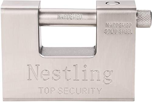 Nestling 5 Schlüssel 1,1 kg Super Heavy Duty rechteckige 20 '40' Container Garage Shed Shutter Kette Vorhängeschloss 94mm Heavy Duty High Security