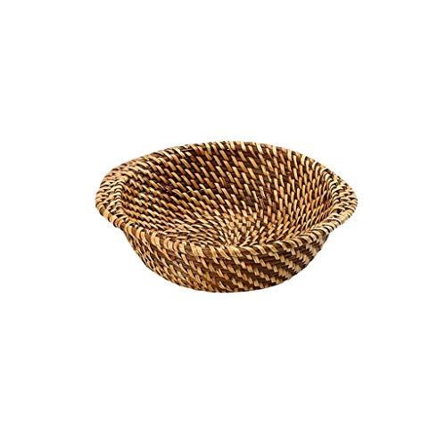 QZH Plato de Fruta marrón - Cazuela Redonda de ratán para Frutas Cesta de Aislamiento de Plato Anti-Caliente, Cuenco de arroz Bandeja de arroz separada Estante de Almacenamiento