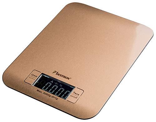 Bestron Digitale Küchenwaage, Mit LCD-Anzeige, Tragkraft 5 kg, Präzision auf 1 g, Kupfer