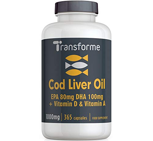 Cod Liver Oil Capsules 1000mg 365 High Strength Omega 3 Softgels, EPA DHA Vitamins A & D3, Full Year Supply, Gluten Free, by Transforme