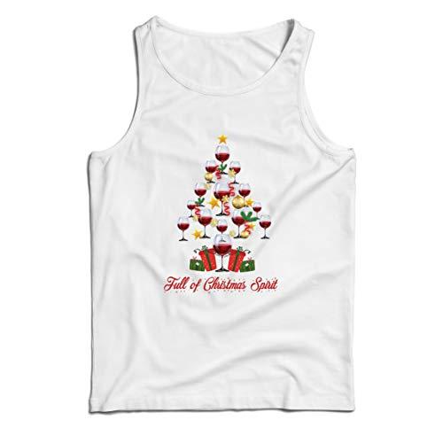 lepni.me Camisetas de Tirantes para Hombre Lleno de espíritu navideño Vino Jolly Animación navideña (XX-Large Blanco Multicolor)