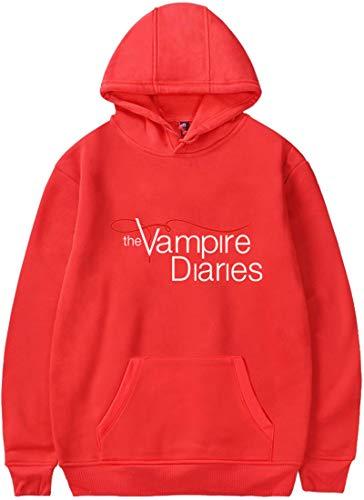 EMLAI Damen Kapuzenpullover The Vampire Diaries Druck Fashion Casual Langarm Hoodie (M, Rot)