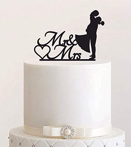 Cake Topper, Kuss, Tortenstecker, Tortefigur Acryl, Hochzeit Hochzeitstorte Kuchenaufstecker (Schwarz) - Art.Nr. 5042