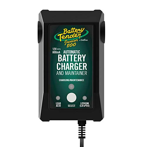 Battery Tender Junior 12V Battery Charger and Maintainer: 800mA 12 Volt Battery Charger for Lead Acid and Lithium Batteries - Switchable Battery Charger for Powersports - 022-0199-DL-WH