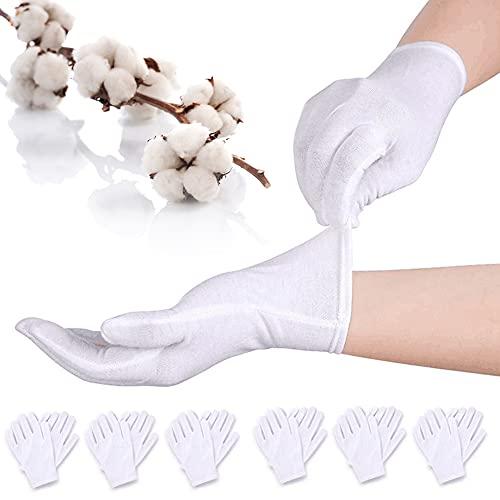 BETOY Guanti di Cotone Bianco White Cotton Gloves Elastico guanto da lavoro per monete gioielli argento ispezione guanti 12 paia