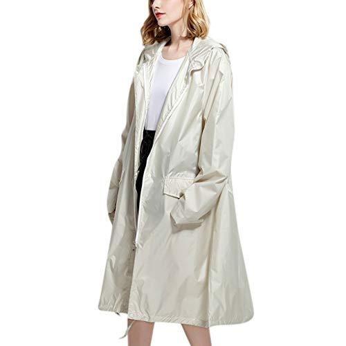Abrigos de lluvia para mujer, chaqueta ligera y sólida, impermeable al aire libre, resistente al viento, abrigo con capucha, con bolsillos, abrigo largo, blanco, M