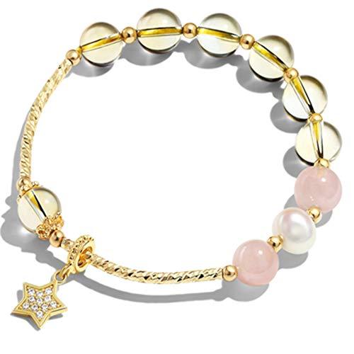 Pulsera de anillo para mujer galvanizada en oro de 14 quilates brillante con colgante de citrino para niñas y novias, regalo de cumpleaños para amantes secretos.
