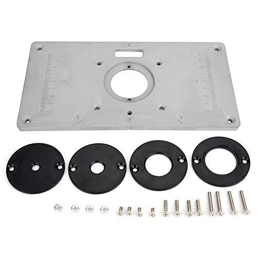 21 IN 1 Precisione Alluminio Piastra di inserimento della tavola del router con 4 anelli e 12 viti Banco Fresa per panche per la lavorazione del legno