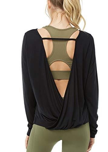 Muzniuer Women's Backless Long Sleeve Yoga T Shirt Casual Open Back Cross Blouse Tops Thumbhole Shirts Long Sleeve Workout Top Summer Top Black L