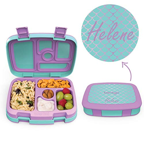 BENTGO KIDS - MIT NAMEN PERSONALISIERBAR - Kinder Brotbox mit 5 Unterteilungen - auslaufsicher & robust - Lunchbox / Brotdose perfekt für Kindergarten & Schule (Mermaid Scales (mit Namen))