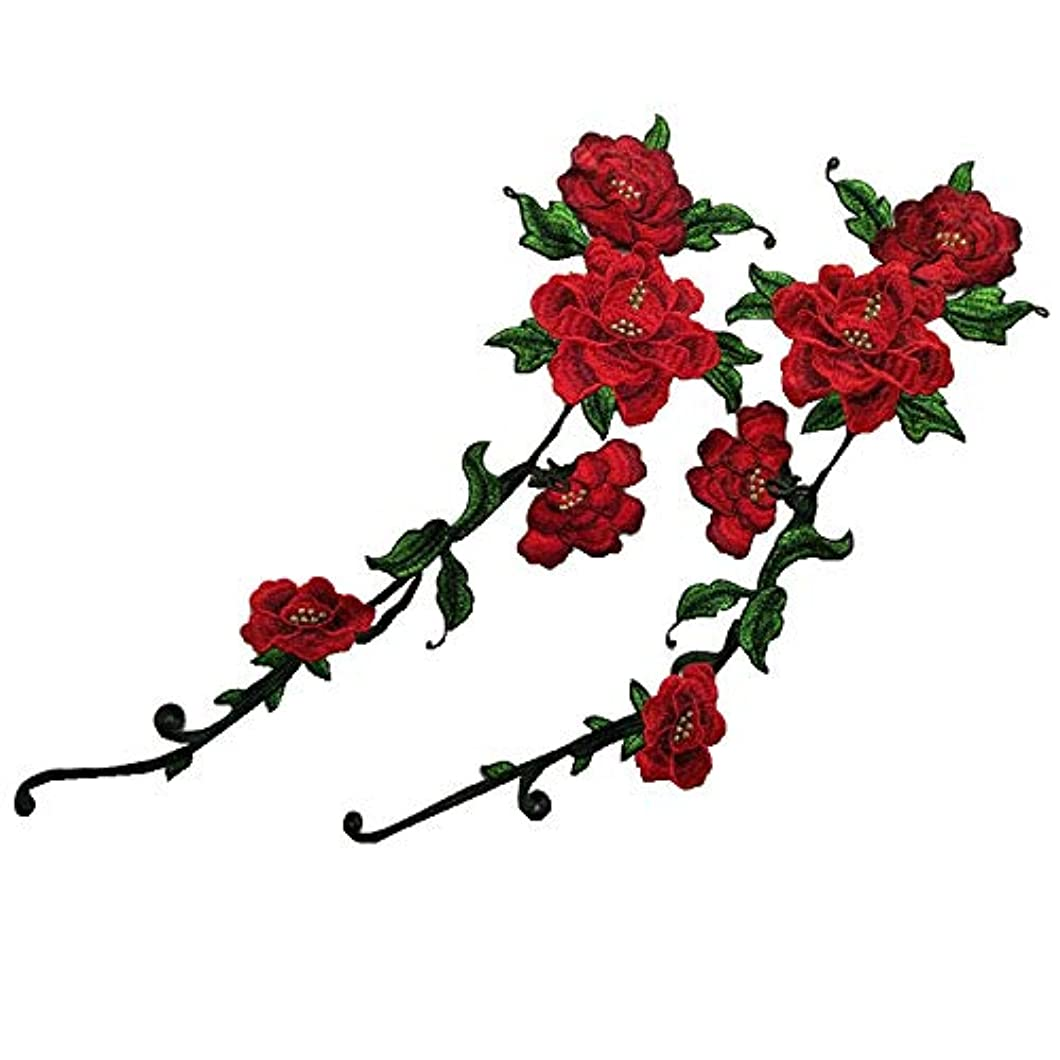1 Pairs Long-Style Peony Embroidery Collar DIY Collar Dcorative Dress Sewing Applique Embroidery Edge Sewing Articles and Crafts (red)