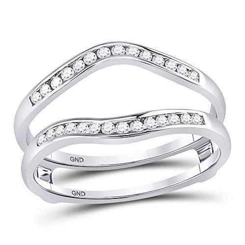 Anillo de oro blanco de 14 quilates para hombre y mujer con diamante redondo para proteger el solitario de 1/4 quilates para mujer