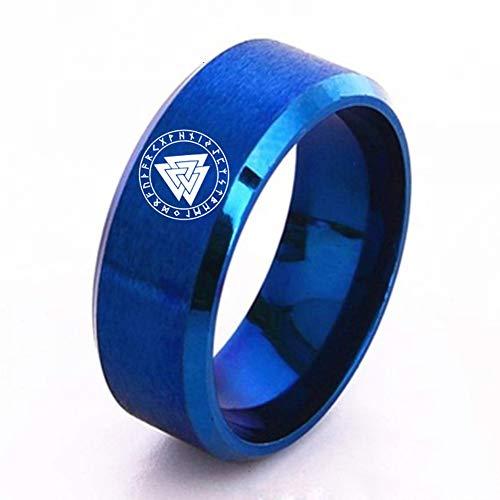 Serired Anillo Runa Valknut Vikingo de Acero Inoxidable para Hombres/Mujeres, Celta Odin Símbolo Joyería Amuleto Símbolo,Azul,9