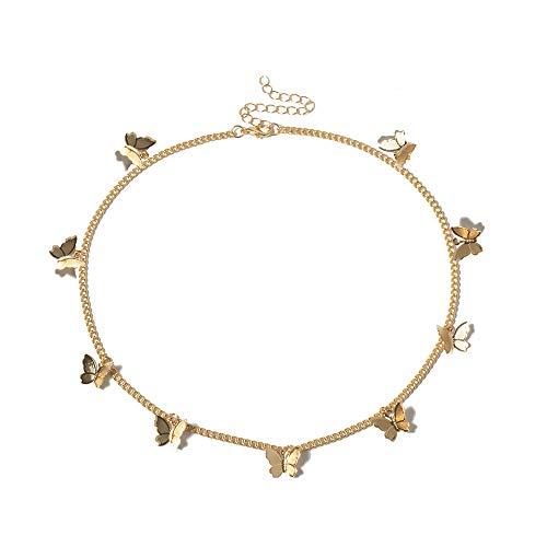 Butterfly Choker Necklace Silver Gold Butterfly Pendant Necklace Dainty Choker Necklace Butterfly Chain Butterfly Necklace Choker for Teen Gilrs Aesthetic Jewelry Gift (A)