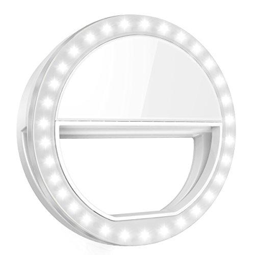 Criacr Selfie Licht, 36 LED Ringleuchte, Selfie Licht Handy, Selfie Ring Licht mit 3 Einstellbare Helligkeiten, USB Wiederaufladbar LED Ringlicht Handy für alle Handys