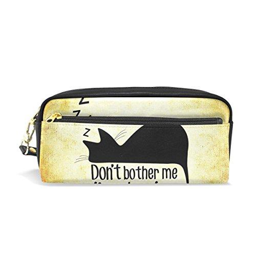 Bennigiry Chat Noir clair Sacs de crayon Stylo Housse étui Porte-monnaie Boîte avec fermeture à glissière pour l'école Student, Petit sac Cosmétique de voyage