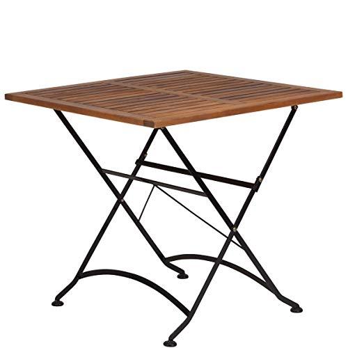 Butlers Parklife Gartentisch aus Holz 80x80x75 cm - Balkon-Tisch aus FSC-Akazienholz und Metall schwarz verzinkt - Holztisch für Balkon oder Terrasse