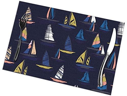Manteles individuales coloridos y bonitos con patrón de surf de viento, juego de 6 manteles individuales para mesa de comedor, manteles individuales lavables resistentes al calor, 12 x 18 pulgadas