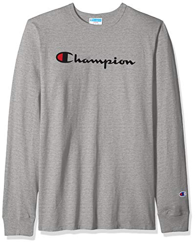 Champion LIFE Men's Heritage Long Sleeve Tee, Oxford Gray w/Embroidered Script, X Large