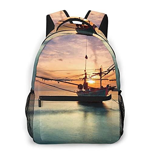 Borsa da scuola per libri da viaggio casual in barca a vela al tramonto per regali da donna