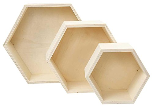 Cajas para almacenaje, hexagonal, A. 14,8+19+24,2 cm, profundidad 10 cm, madera contrachapada, 3ud
