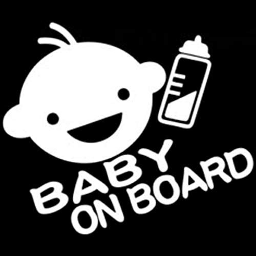 DSRLO Autocollant De Voiture 16.2Cm * 13.8Cm Baby on Board Personal Funny Vinyl Car Sticke Black/Silver