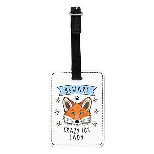 Gift Base Beware Crazy Fox Lady Visual Luggage Tag with Black Strap