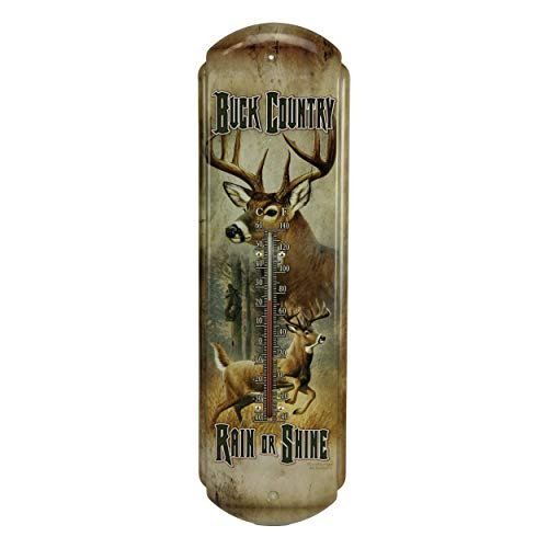 River's Edge Products Tin Thermometer - Buck Country