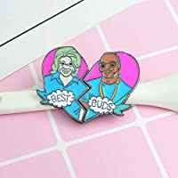 ZSCZQ 2個/セットBESTBUDS Bad Pin Pin Snoop Dogg Martha Stewart Two Heart Metal Enamel Brooch Trendy Backpack Jewelry For BEST BUDS