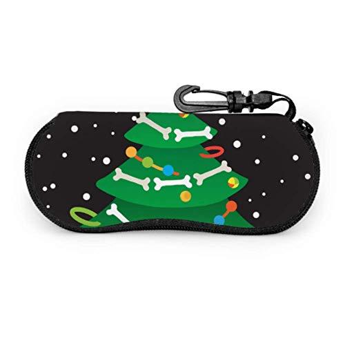 AEMAPE Estuche de árbol de huesos de perro de Navidad para anteojos Estuche para anteojos para niño Estuche para gafas