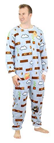 Nintendo Super Mario Herren Faux Pelz Lizenzierte Nachtwäsche Union Anzug mit abnehmbaren Teilen - - Large /X-Large