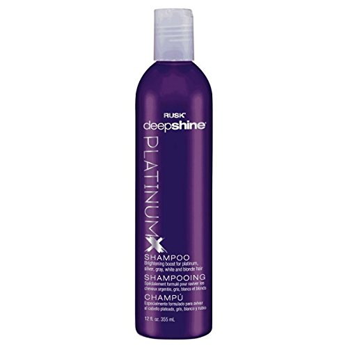 RUSK Deepshine Platinum Shampoo, 12 Oz, Gentle Cleansing Shampoo, Brightening Boost for Platinum, Silver, Gray, White, and Blonde Hair, Removes Yellows, Brightens Hair Color