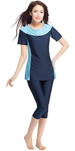 Ababalaya Womens' Color Block Moderate Cover 2 Piece Swimsuit Burkini, Navy Blue, XXXL