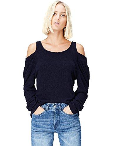 Amazon-Marke: find. Damen Langarmshirt mit Cut-Out-Details, Blau (Navy), 36, Label: S